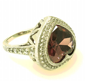 Silver Pink  And White CZ Preowned Ring 81010664