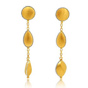 14K Yellow Gold White And Yellow Gold Drop Earrings