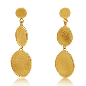14K Yellow Gold White And Yellow Gold 2 Oval Drop Earrings