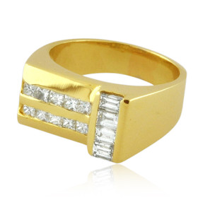 14K Yellow Gold Mens Diamond Ring 11006223