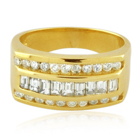 14K Yellow Gold Mens Diamond Ring 11006228