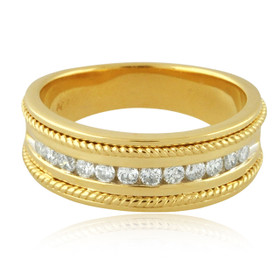 14K Yellow Gold Mens Diamond Wedding Band Ring 11006229