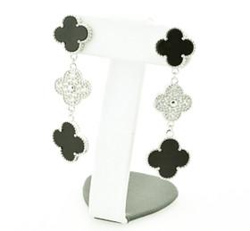 Clover Onyx Sterling Silver Cubic Zirconia Push Back Drop Earrings