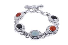 Sterling Silver Clover Onyx  Bracelet 82010787