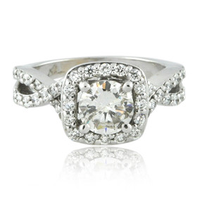 14K White Gold Diamond Engagement Ring with Side Diamonds 11005729