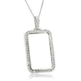 Sterling Sliver Coin Holder Charm With Cubic Zirconia 85010661