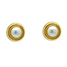 14K Yellow Gold Pearl Earrings 42003038