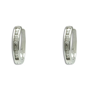 10K White Gold Diamond Huggie Earrings 49110011