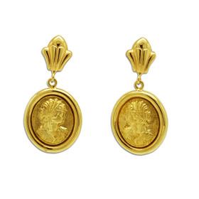 14K Gold Oval Drop Earrings 40002596