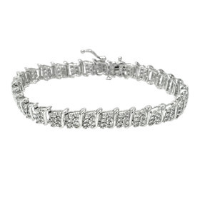 10K White Gold Diamond Tennis Bracelet 21000706