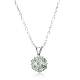 14K White Gold Diamond Cluster Pendant 51001933
