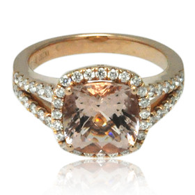 14K Platinum Gold Morganite and Diamond Ring 12002796