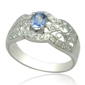 18K White Gold Diamond and Tanzanite Ring 12002797