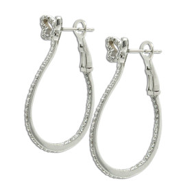 14K White Gold Diamond Butterfly Hoop Earrings 41002287