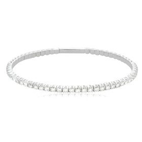 "14K White Gold 0.93 Carat Flexible 7"" Diamond Bangle 21000719"