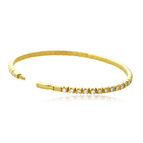 "14K Yellow Gold 1.96 Carat Flexible 7"" Diamond Bangle 21000725"