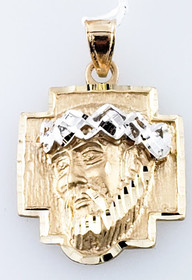 14K Yellow Gold Diamond Christ Head Charm 50003558