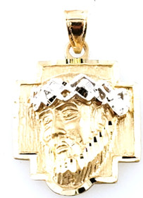 14K Two Tone Gold Diamond Cut Christ Head Charm 50003558