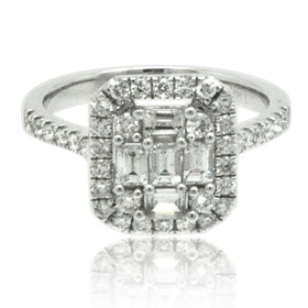 18K White Gold Diamond Engagement Ring with Illusion Setting 11006159