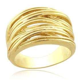 10K Yellow Gold Wavy Lines Fancy Ring 10017491