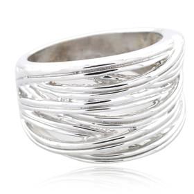 10K White Gold Wavy Lines Fancy Ring 10017490