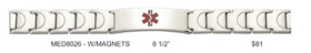 "Stainless Steel Medical Alert 8.5"" Bracelet with Magnets MED8026"