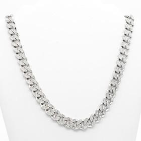 18K White Gold Diamond Cuban Link Chain 31000953