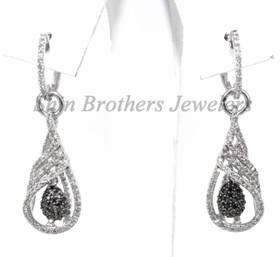 410-01140 14K White Gold Black Diamond Earrings