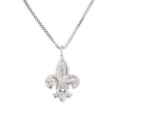 14K White Gold Diamond Fluer-De-Lis Charm 51001114