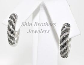 14K White Gold White And Color Enhanced Black Diamond Earrings 41001286