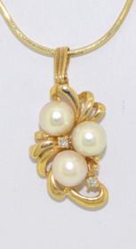 52000637 14K Yellow Gold Pearl and Diamond Charm