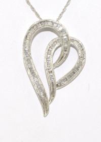 14K White Gold Baguette Diamond Heart Pendant 51000086