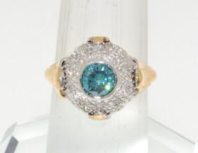 14K Yellow Gold Blue Enhanced Fancy Diamond Ring 11000313