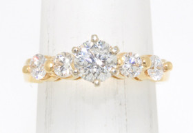 14K Yellow Gold 0.74 ct Diamond Engagement Ring