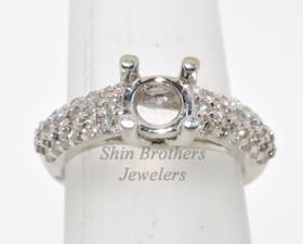 14K White Gold Round Diamond Engagement Setting