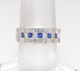 18K White Gold Diamond/Sapphire Ring 12001076