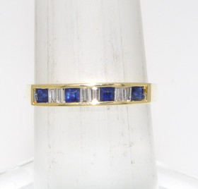 12000171 14K Yellow Gold Diamond /Sapphire Ring