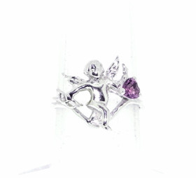 14K White Gold Angel With Amethyst Ring 12000269