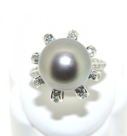 18K White Gold Pearl Diamond Ring 12000013