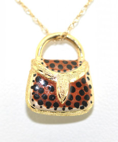 14K Yellow Gold Hand Bag With Enamel Charm 50001201