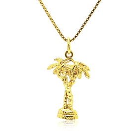 14K Yellow Gold Palm Tree Charm 50001533