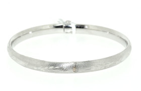 14K White Gold Leaf Cut Baby Bangle 23000102