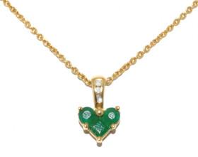 14K Yellow Gold Genuine Emerald & Diamond Necklace52000716