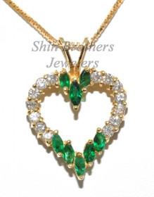 14K Yellow Gold Emerald & Diamond Heart Charm 52000840