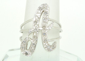 11001817 14K White Gold Diamond Initial A Name Ring