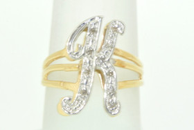11002168 14K White Gold Diamond Initial K Name Ring