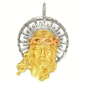 14K Tricolor Gold Christ Head Charm