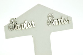 43300004 14K White Gold Name Earrings With Post Javier
