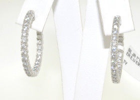 Silver CZ Hoop Earrings With New Safety Lock 84010178