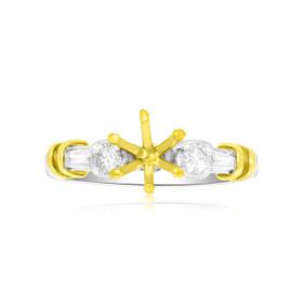 Plat/18K Fancy Two Tone Diamond Engagement Setting